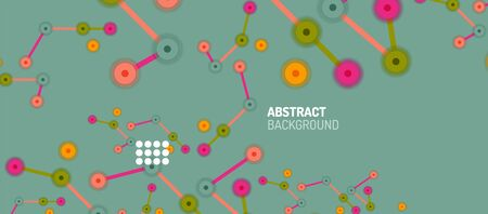 Flat style geometric abstract background, round dots or circle connections on color background. Technology network concept. Фото со стока - 150476035