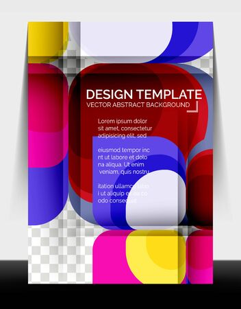 Business annual report brochure template, A4 size covers created with geometric modern patterns