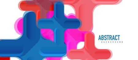 Glossy multicolored plastic style cross composition, x shape design, techno geometric modern abstract background. Trendy abstract layout template for business or technology presentation, internet poster or web brochure cover Stock Illustratie