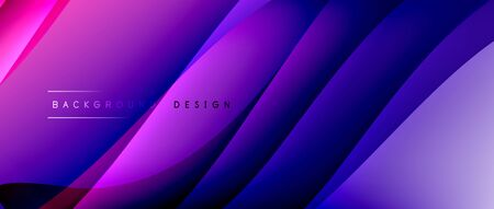 Fluid gradient waves with shadow lines and glowing light effect, modern flowing motion abstract background for cover, placards, poster, banner or flyer Ilustracja