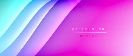 Fluid gradient waves with shadow lines and glowing light effect, modern flowing motion abstract background for cover, placards, poster, banner or flyer Ilustração