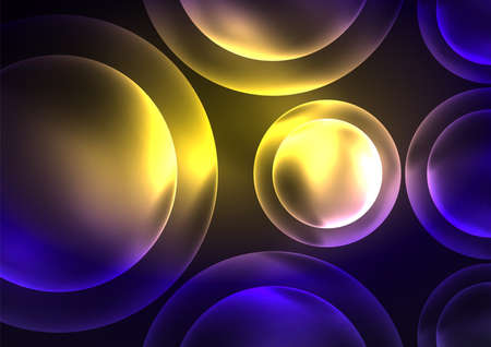 Glowing neon shiny transparent bubbles, glass circles or bio cell concept. Techno futuristic vector abstract background For Wallpaper, Banner, Background, Card, Book Illustration, landing page