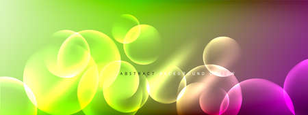 Vector abstract background liquid bubble circles on fluid gradient with shadows and light effects. Shiny design templates for text Banque d'images - 150756248