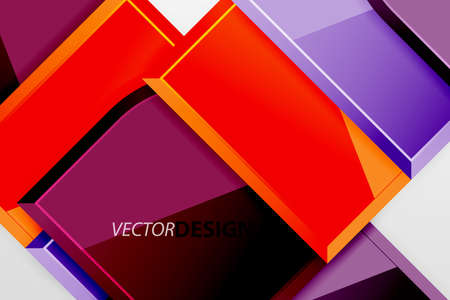 Glossy glass squares with round elements geometric composition. Abstract geometric background with 3d effect composition For Wallpaper, Banner, Background, Card, Book Illustration, landing page Banque d'images - 150755518