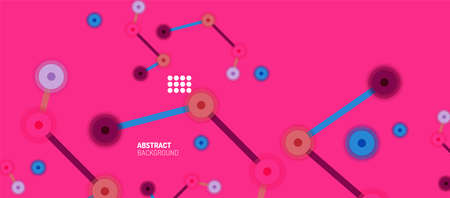Flat style geometric abstract background, round dots or circle connections on color background. Technology network concept. Ilustração