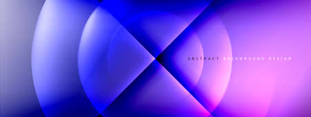Vector abstract background - circle and cross on fluid gradient with shadows and light effects. Techno or business shiny design templates for text 일러스트
