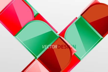 Glossy glass squares with round elements geometric composition. Abstract geometric background with 3d effect composition For Wallpaper, Banner, Background, Card, Book Illustration, landing page Illustration