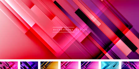 Dynamic lines on fluid color gradient. Collection of trendy geometric asbtract backgrounds for your text,  graphics. Vector illustration Illusztráció