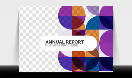 Horizontal A4 business flyer annual report template, circles and triangle style shapes modern geometric design for brochure layout, magazine or booklet Illusztráció