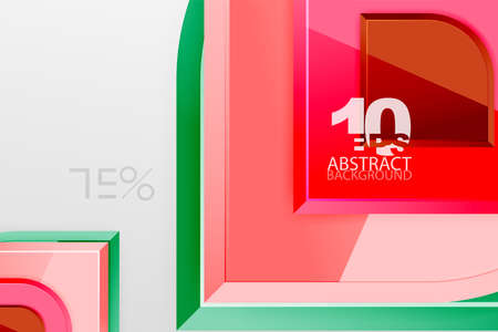 Glossy glass squares with round elements geometric composition. Abstract geometric background with 3d effect composition For Wallpaper, Banner, Background, Card, Book Illustration, landing page Stock fotó - 151145202