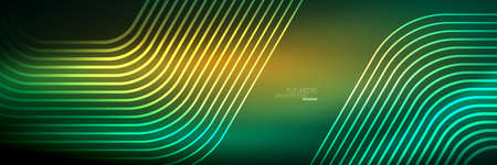 Shiny neon lines, stripes and waves, technology abstract background. Trendy abstract layout template for business or technology presentation, internet poster or web brochure cover, wallpaper Foto de archivo - 151145370
