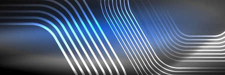 Shiny neon lines, stripes and waves, technology abstract background. Trendy abstract layout template for business or technology presentation, internet poster or web brochure cover, wallpaper Foto de archivo - 151145374
