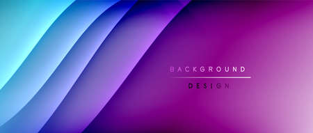 Fluid gradient waves with shadow lines and glowing light effect, modern flowing motion abstract background for cover, placards, poster, banner or flyer 向量圖像