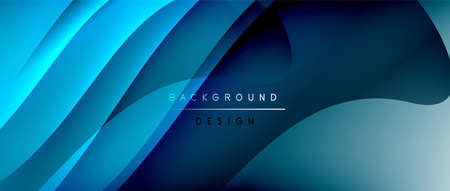 Fluid gradient waves with shadow lines and glowing light effect, modern flowing motion abstract background for cover, placards, poster, banner or flyer Vectores