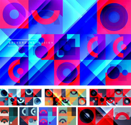 Set of neo memphis geometric patterns. Abstract backgrounds for covers, banners, flyers and posters and other templates