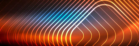 Shiny neon lines, stripes and waves, technology abstract background. Trendy abstract layout template for business or technology presentation, internet poster or web brochure cover, wallpaper 向量圖像