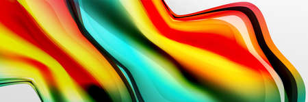 Vector abstract background, flowing liquid style bubble with metallic, color quicksilver chrome texture and color glow effects