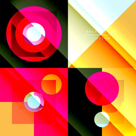Neo memphis geometric pattern with circles, squares and lines. Pop art abstract background for covers, banners, flyers and posters and other templates