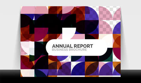 Horizontal A4 business flyer annual report template, circles and triangle style shapes modern geometric design for brochure layout, magazine or booklet 向量圖像