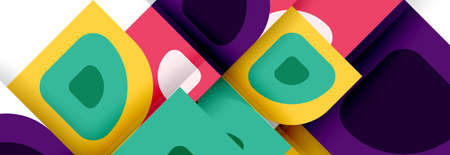 Set of vector modern geometric abstract backgrounds with repeating abstract round shapes patterns and shadow effects