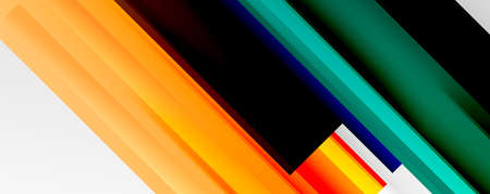 Geometric abstract backgrounds with shadow lines, modern forms, rectangles, squares and fluid gradients. Bright colorful stripes cool backdrops