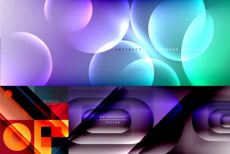 Collection of geometric abstract backgrounds for covers, banners, flyers and posters and other templates