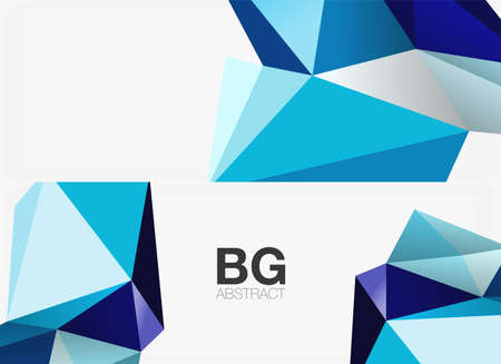 Set of 3d low poly shape geometric abstract backgrounds. Vector illustrations for covers, banners, flyers and posters and other templates