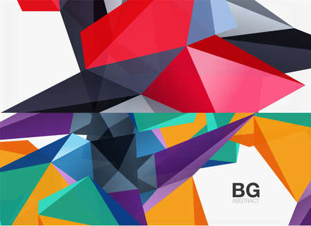 Set of 3d low poly shape geometric abstract backgrounds. Vector illustrations for covers, banners, flyers and posters and other templates Ilustración de vector