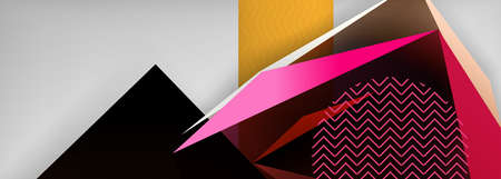 Low poly 3d geometric shapes, minimal abstract background. Vector illustrations for covers, banners, flyers and posters and other
