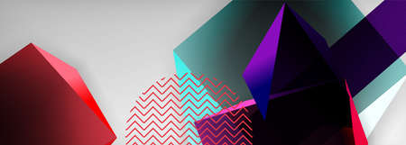 Low poly 3d geometric shapes, minimal abstract background. Vector illustrations for covers, banners, flyers and posters and other Vetores