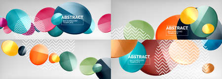 Set of glass bubbles abstract backgrounds. Vector illustrations for covers, banners, flyers and posters and other