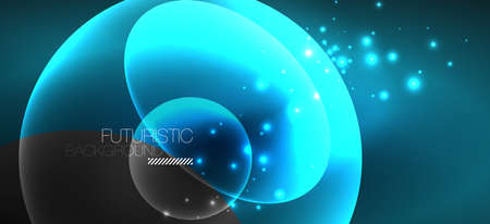 Neon ellipses abstract backgrounds. Shiny bright round shapes glowing in the dark. Vector futuristic illustrations for covers, banners, flyers and posters and other Ilustração