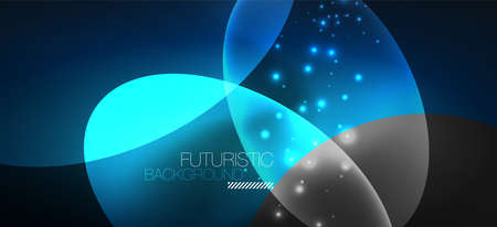 Neon ellipses abstract backgrounds. Shiny bright round shapes glowing in the dark. Vector futuristic illustrations for covers, banners, flyers and posters and other 向量圖像