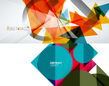 Set of vector geometric backgrounds. Vector illustration for covers, banners, flyers and posters and other designs 向量圖像