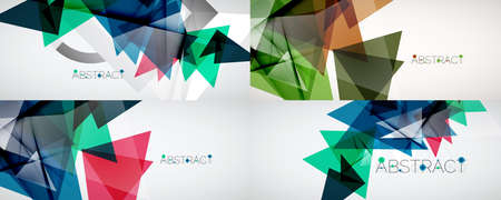 Set of abstract backgrounds. Color triangle shapes on light background. Vector illustration for covers, banners, flyers and posters and other designs