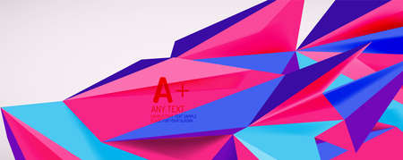 Vector triangle geometric backgrounds. Low poly 3d shape on light backdrop. Vector illustration for covers, banners, flyers and posters and other designs