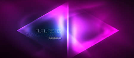 Neon geometric abstract background. Triangles with color glowing light effects in the dark. Vector illustration for covers, banners, flyers and posters and other Vector Illustration