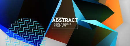 Low poly 3d geometric shapes, minimal abstract background. Vector illustrations for covers, banners, flyers and posters and other Ilustração Vetorial