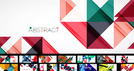 Clean minimal geometric abstract backgrounds with various geometric shapes - triangles, circles, waves and other. Vector illustrations for covers, banners, flyers, social media
