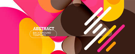Modern geometric round shapes and dynamic lines, abstract background. Vector illustration for placards, brochures, posters and banners