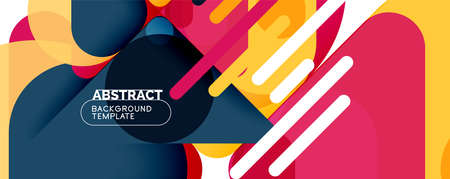 Flat geometric round shapes and dynamic lines, abstract background. Vector illustration for placards, brochures, posters and banners