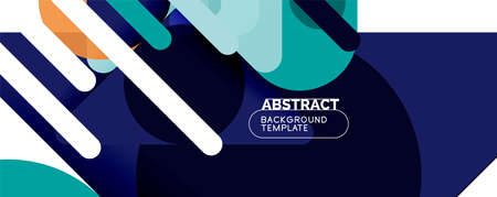 Modern geometric round shapes and dynamic lines, abstract background. Vector illustration for placards, brochures, posters and banners Vecteurs