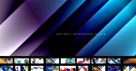 Mega set vector geometric abstract backgrounds Ilustracja