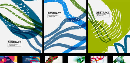 Clean minimal trendy vector wallpaper set. Abstract backgrounds for business or technology presentations, internet posters or web brochure covers