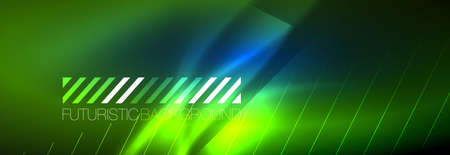 Neon glowing lines, magic energy and light motion background. Vector wallpaper template Stockfoto - 168120575