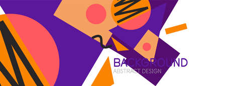 Abstract background. Blocks, lines, triangles, circles composition. Techno or business concept for wallpaper, banner, background, landing page Vektoros illusztráció