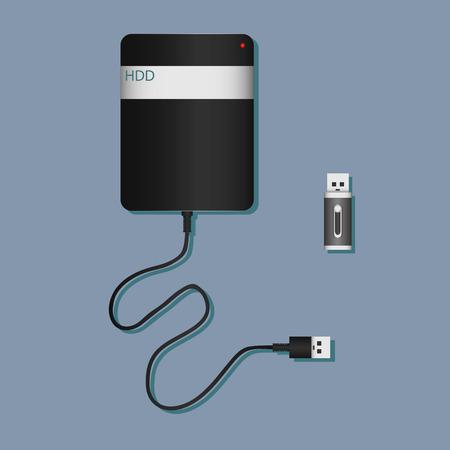 kilobyte: Digital data devices icon set isolated on the grey background