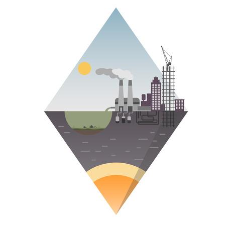 industrial island design. Ecological background suitable for presentations. Eps10 vector illustration.