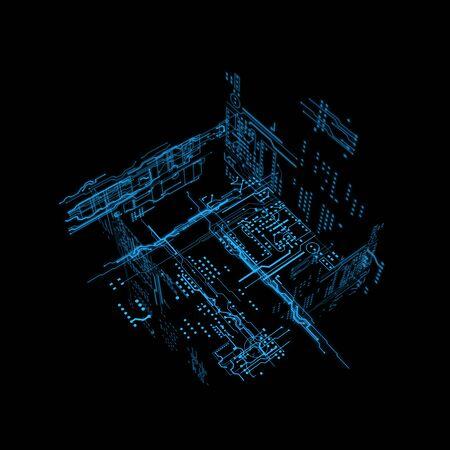scaner: 3d hologram futuristic hud blue line interface