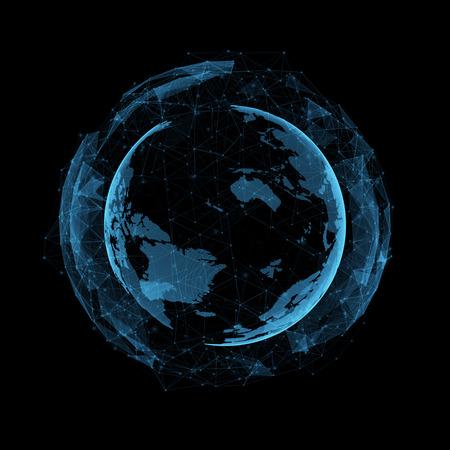 virtual technology: new technology and virtual sphere globe blue hologram